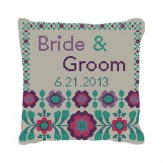 FlowerPop Custom Wedding Ring Bearer Pillow | #Needlepoint | #NeedlePaint