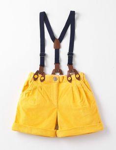 Golden corduroy shorts with braces