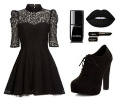 """Total black night out"" by angelsdoom on Polyvore featuring Mairi Mcdonald, Chanel, Lime Crime, NYX and New Look"