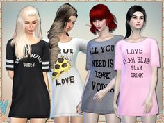 "simlark: ""Galentine's Day - mesh needed What's Galentine's Day? Oh, it's only the best day of the year. And now your female sims can celebrate it too in these anti-Valentine's Day long shirts. Single..."