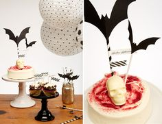 A sweet black and white Halloween party and printable by Pop up kemut