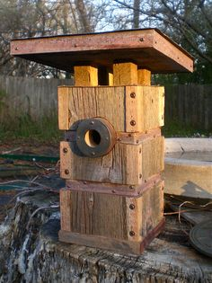Modern Birdhouse Handmade from Recycled Barn by Roundhouseworks, $135.00 #modern #birds
