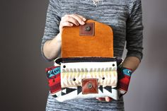 Handmade leather clutch Navajo wool and leather by ScarfObsession, $75.00