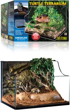 The Exo Terra Turtle Terrarium is the ideal housing for aquatic turtles and other aquatic reptiles, amphibians and invertebrates. The Exo Terra Turtle Terrarium is a solid and sturdy all-glass terrarium, created to provide aquatic turtles or other aquatic animals with a natural aquatic environment. The lower front panel with bent corners enables a perfect view and allows better interaction with your animals.