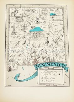 Vintage Maps  New Mexico  A Fun and Funky by StoriesDivinations, $21.00