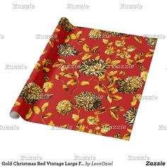 Shop Gold Christmas Red Vintage Large Floral Toile Wrapping Paper created by LeonOziel. Gift Wrapping Paper, Custom Wrapping Paper, Gold Christmas, Christmas Wrapping, Holiday Gifts, Holiday Cards, White Elephant Gifts, Vintage Floral, Wraps