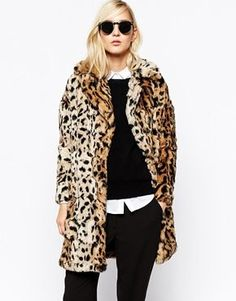 River Island Faux Fur Leopard Jacket