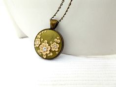 Olive Green Necklace Floral pendant Flower Necklace by TunicBotik beautiful hand crafted polymer pendant necklace