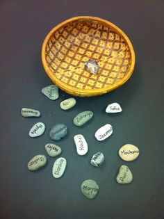 Create a new tradition in your classroom - Arrival Stones! As children join the group each day, they find their stone and add it to the basket.