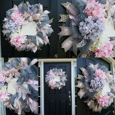 Baby girl hydrangea hospital door wreath, coordinates with Pottery Barn Kids bedding, ready for baby's name to be added to the plaque.