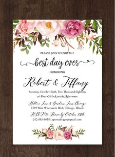// Edit this printable template instantly in user-friendly online design tool //Truly DIY custom design for your perfect wedding: edit all the texts + choose your background, text color & font style! // Including trending wood, marble, chalkboard backgrounds & designer fonts. //Free demo. Click & Try it!