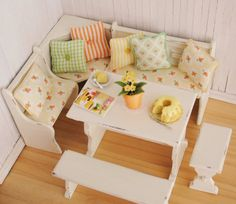 Miniature Kitchen Dining Nook Set by LittleThingsByAnna (1:12 scale)