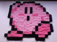 Kirby pixel crochet rug