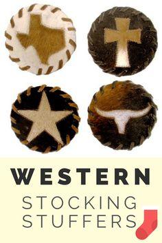 Western Cowhide Coasters: Texas, Cross, Star or Longhorn