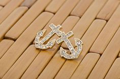 Liz's Rhinestone Anchor Stud Earrings - Gold Tone $19
