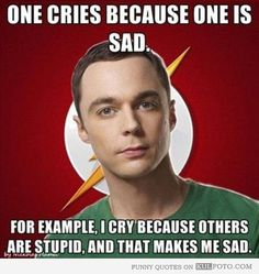 One cries because one is sad. For example, I cry because others are stupid, and that makes me sad.