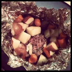 Hobo Burger packets, we used to make these in the oven and on the campfire. I am thinking that I might throw them on the grill tonight! :)