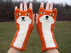 Fox Fingerless Gloves Orange  Free Shipping Worldwide by Pomber, $41.99