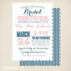 Vintage Nautical Scalloped Bridal Shower Invitation Printable Invite OR Printed Card. $15.00, via Etsy.