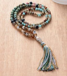 Onyx with Colorful Tassel Mala