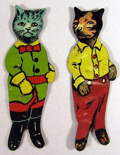 Two Vintage Cracker Jack Tin Lithographed Toy Cat Figures