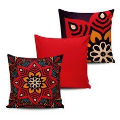 KIT com 3 Almofadas Decorativas Mandala 45x45cm - ALMAND006 - Pano e Arte
