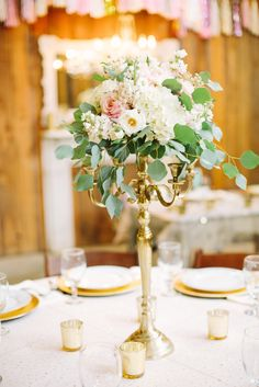 La Tee Da's gold candelabra Stone Oak Ranch, Erica Mae Photo.