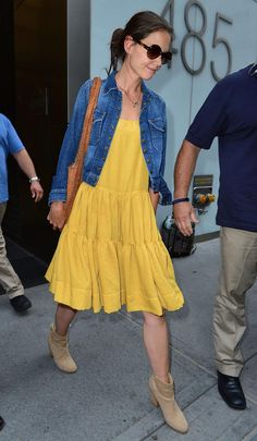 Katie Holmes in yellow dress and jean jacket looks great.