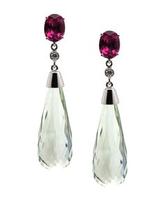 trésor pink tourmaline and green amethyst #Briolette earrings