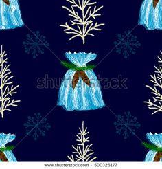 Abstract seamless new year and christmas background with fir-tree, snowflakes and gift bag.