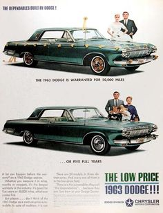 1963 Dodge Polara Coupe original vintage advertisement. The 1963 Dodge is warranted for 50,000 miles or five full years. The dependables built by Dodge!