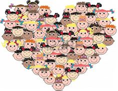 Illustration of mixed ethnic children love vector art, clipart and stock vectors. Drawing Salve, Healthcare Quotes, People Logo, Health And Wellness Quotes, Body Photography, Child Love, Vector Art, At Home Workouts, Hello Kitty