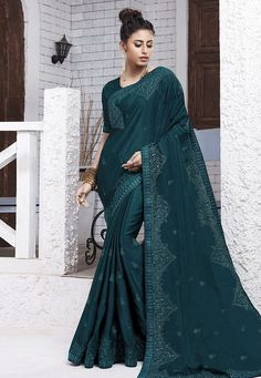 Buy Teal Blue Chiffon Saree With Blouse 204558 with blouse online at lowest price from vast collection of sarees at Indianclothstore.com.