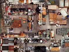 This was created by artist Alain Paiement, this is a photograph of the arial view of a restaurant. I like how this photograph shows how cramp the place is and how much is can actually fit into one place. Art Toronto, The Outsiders, Photo Wall, Frame, Places, Buildings, Photography, Restaurant, Fit