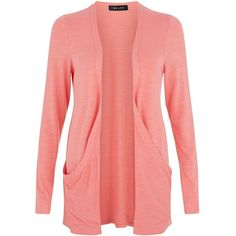 Coral Drop Pocket Boyfriend Cardigan ($12) ❤ liked on Polyvore featuring tops, cardigans, jackets, sweaters, pink, pink long sleeve top, red top, coral top, red boyfriend cardigan and pink top