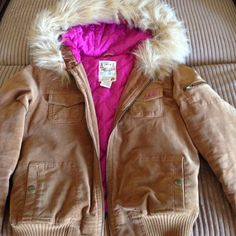 Women's Hollister jacket I bought this a posh too small for me in good condition except for the pic I posted on one sleeve its on the bottom Hollister Jackets & Coats