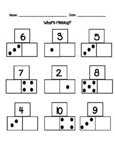 Practice for number bonds using domino dot patterns. Mental Maths Worksheets, 1st Grade Worksheets, 1st Grade Math, Math Activities, Math Games, Kindergarten Lesson Plans, Teaching Kindergarten, Teaching Resources, Algebra