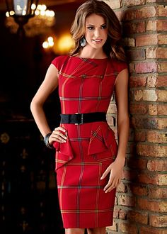 Belted Plaid Dress $50 for shopping day - (day to night outfit...)