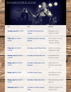 Upcoming shows this week. More info at www.DosEddies.com/calendar or https://www.facebook.com/doseddies/events  #doseddies #acousticduo #upcomingshows  #livemusic #oldamericanfishco #southport #nc #hiltonwilmingtonriverside #ilm #rackm #inletview #inletviewbarandgrill #shallotte #shelbyjeans #carolinabeach #bankschannel #wrightsvillebeach #gibbysdockanddine #gibbys #carolinabeachnc #coastal #happy4thofjuly #markweathers #gregmiller