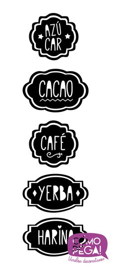 Etiquetas para Frascos                                                                                                                                                     Más Crazy Home, Stationery Printing, Spice Labels, Friendship Gifts, Hacks Diy, Silhouette Cameo, Screen Printing, Stencils, Clip Art