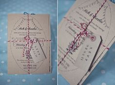 handmade rustic wedding stationery with red and white string and luggage tags | The Natural Wedding Company