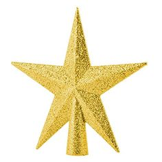 Adeeing Christmas Tree Topper Ornament 8-Inch Gold Glittered 5 Point Star Treetop Top of the Tree Gold => Amazing deals just a click away : Christmas Tree Toppers