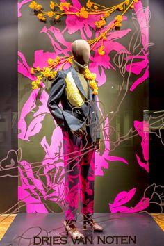"DRIES VAN NOTEN,""be eccentric now.don't wait till old age to wear purple"", pinned by Ton van der Veer Window Display Design, Shop Window Displays, Store Displays, Retail Displays, Store Front Windows, Retail Windows, Visual Merchandising Displays, Visual Display, Shop Interiors"