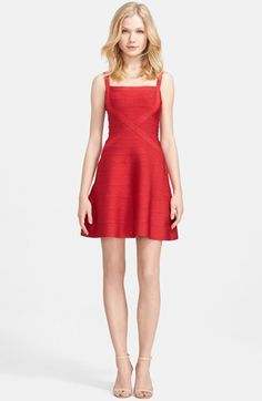 Free shipping and returns on Herve Leger A-Line Bandage Dress at Nordstrom.com. Crisscrossed panels intersect the bodice to further define a flattering A-line dress cast in a signature shade of red. The densely knit paneled construction offers the right a