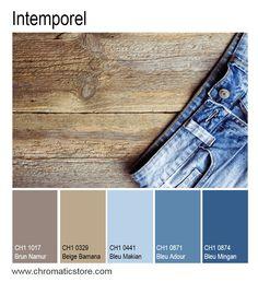 Le bleu reste particulièrement tendance cette année encore. Dans ses versions jean, brut ou délavé par le temps(Bleu Makian, Adour ou Mingan), il se marrie élégamment avec les bois patinés. www.chromaticstore.com