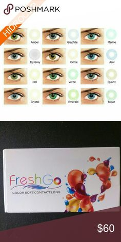 Hidrocor Contacts by Freshgo USA Non prescription for dark eyes 12 colors available. month life span depending on care.Compared to Solotica Freshgo Makeup Brushes & Tools Fashion Contact Lenses, Contact Lenses For Brown Eyes, Prescription Colored Contacts, Cosplay Contacts, Dark Eyes, Makeup Brushes, Saline Solution, Color Contacts, Blog