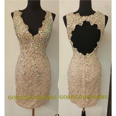 Short Champagne Lace Bead Prom Dress/ Sexy Cheap Custom Party Dress/ Red Black Pink Homecoming Dress/ Evening Dress 2014 on Etsy, $119.99