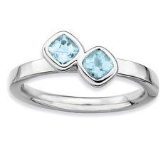 Sterling Silver Affordable Expressions Db Cushion Cut Aquamarine Ring