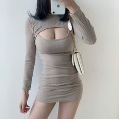 Sexy chest openwork bag hip stretch long sleeve dress · FE CLOTHING · Online Store Powered by Storenvy Kpop Fashion Outfits, Edgy Outfits, Girl Outfits, Cute Outfits, Hip Stretches, Stylish Clothes For Women, Korean Girl Fashion, Alternative Outfits, Aesthetic Clothes