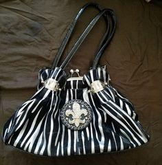 FleurDeLis Satchel Handbag Black & Silver Zebra Print Purse #FleurDeLis #Satchel #ebay